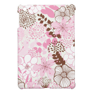 Brown and Pink Spring Garden Floral Pattern iPad Mini Cover