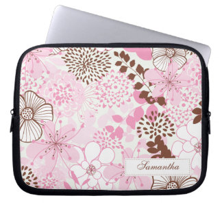 Brown and Pink Spring Garden Laptop Sleeves