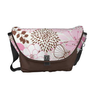 Brown and Pink Spring Garden Courier Bags