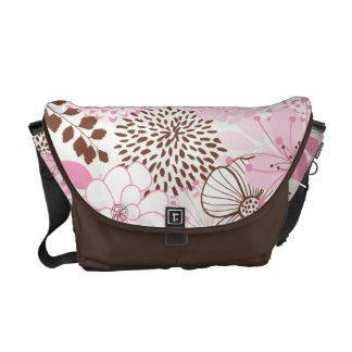 Brown and Pink Spring Garden Messenger Bag