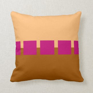Brown and Pink Squares Throw Pillow
