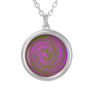 Brown and Pink Swirls Silver Plated Necklace