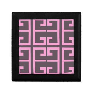Brown and Pink Tile Keepsake Box