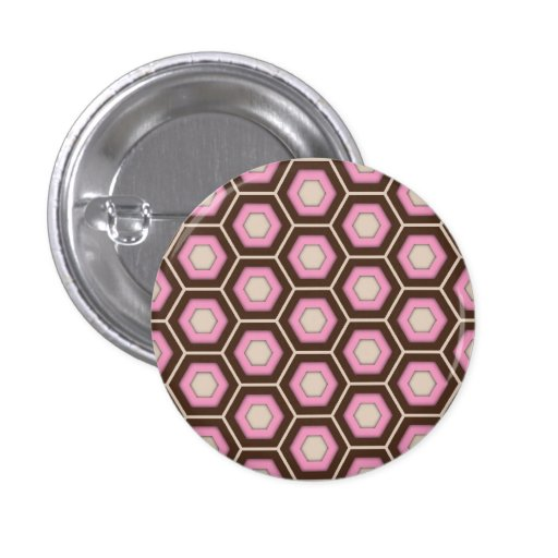 Brown and Pink Tiled Hex Button