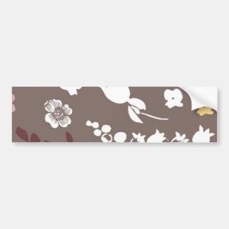 Brown and Pink Vintage Romantic Floral Pattern Car Bumper Sticker