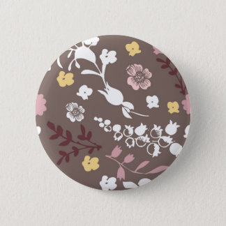 Brown and Pink Vintage Romantic Floral Pattern Button