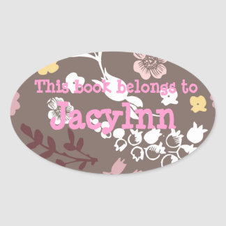 Brown and Pink Vintage Romantic Floral Pattern Oval Sticker