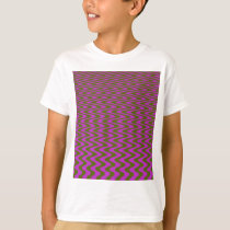 Brown and Pink Wave Pattern T-Shirt