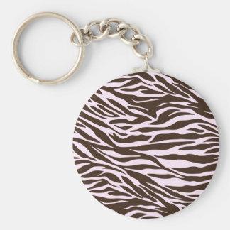brown and pink zebra basic round button keychain