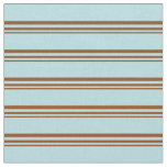 [ Thumbnail: Brown and Powder Blue Lined Pattern Fabric ]