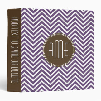 Brown and Purple Chevron Pattern Custom Monogram 3 Ring Binder
