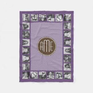Brown and Purple Chevron Pattern Custom Monogram Fleece Blanket