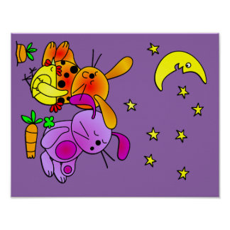 Brown and Purple Rabbit, and a Chicken Snoozing Poster