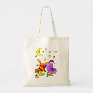 Brown and Purple Rabbit, and a Chicken Snoozing Tote Bag