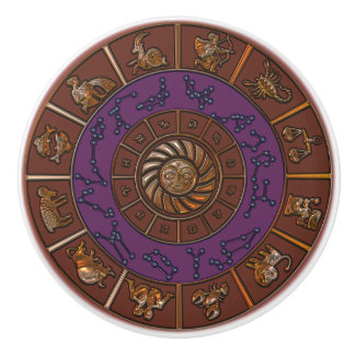Brown and Purple Zodiac Wheel Chart Knob