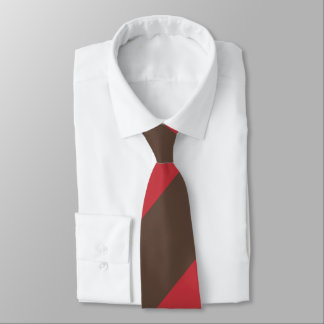 Brown and Red Broad Regimental Stripe Neck Tie