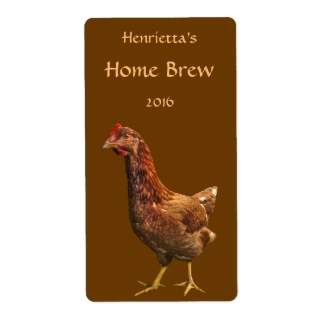 Brown and Red Hen Chicken Beer Labels