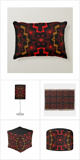 Brown and Red Lightning Suns Abstract Home Decor