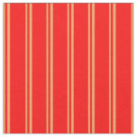 [ Thumbnail: Brown and Red Lines/Stripes Pattern Fabric ]