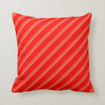 [ Thumbnail: Brown and Red Lines/Stripes Pattern Throw Pillow ]