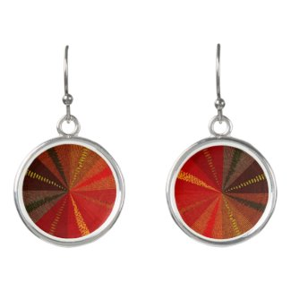 Brown and Red Mandala Abstract Drop Earrings