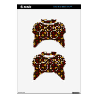 Brown and Red Polka Dot Pattern Xbox 360 Controller Decal