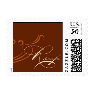 Brown and Rust RSVP stamp