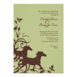 Brown and Sage Wild Horses Wedding Invitation