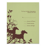 Brown and Sage Wild Horses Wedding RSVP card Announcements
