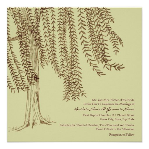 Brown and Sage Willow Tree Wedding Invitation
