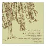 "Brown and Sage Willow Tree Wedding Invitation 5.25"" Square Invitation Card"