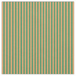 [ Thumbnail: Brown and Sea Green Colored Lines Fabric ]