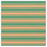 [ Thumbnail: Brown and Sea Green Stripes/Lines Pattern Fabric ]