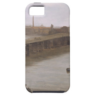 Brown and Silver: Old Battersea Bridge by James iPhone SE/5/5s Case