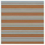 [ Thumbnail: Brown and Sky Blue Colored Stripes Fabric ]
