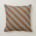 [ Thumbnail: Brown and Sky Blue Colored Stripes Throw Pillow ]