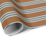 [ Thumbnail: Brown and Sky Blue Colored Stripes Wrapping Paper ]