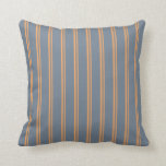 [ Thumbnail: Brown and Slate Gray Colored Lines Throw Pillow ]