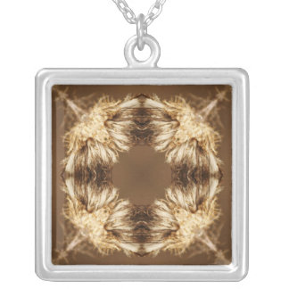 Brown and tan abstract cross design square pendant necklace