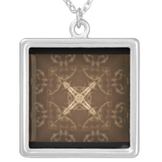 Brown and tan abstract design square pendant necklace