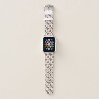Brown and Tan Argyle Paw Print Pattern Apple Watch Band