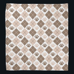 """Brown and Tan Argyle Paw Print Pattern Bandana<br><div class=""""desc"""">Show off your love of animals with this awesome paw print themed product. This item displays a brown and tan argyle paw print pattern. Maybe you&#39;re searching for a special gift for an animal lover in your life? This product would be a great gift for cat owners, dog owners, veterinarians,...</div>"""
