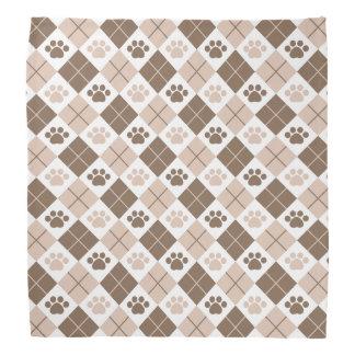 Brown and Tan Argyle Paw Print Pattern Bandana