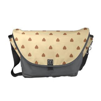 Brown and tan - beige heart pattern Custom Commuter Bags