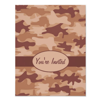Brown and Tan Camo Camouflage Party Event Card