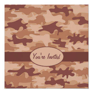 Brown and Tan Camo Camouflage Party Event Square Card