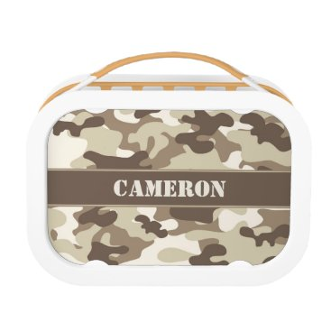 Beach Themed Brown and Tan Camo (Camouflage) | Personalized Lunch Box