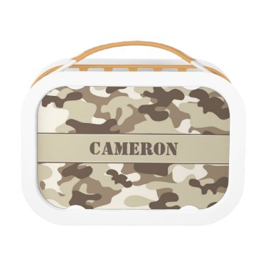 Beach Themed Brown and Tan Camouflage (Camo) | Personalized Lunch Box