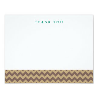 Brown and Tan Chevron Thank You Note Cards