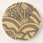 Brown and Tan Color Art Deco Style Design. Beverage Coasters